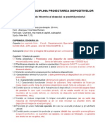 Proiect La Disciplina Proiectarea Dispozitivelor-Specificatii Pt Intocmirea Proiectului