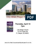 City Prayer Meeting April 10 2014