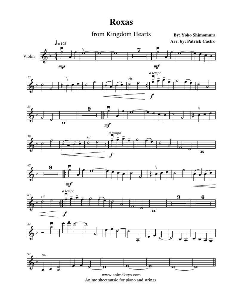 Piano immortals piano sheet music : Kingdom Hearts - Roxas- violin sheet music