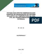 ELETROPAULO Estudo dos efeitos sinergicos dos agentes de degradação do sistema isolante e da temperatura na vida util de transformadores de potencia