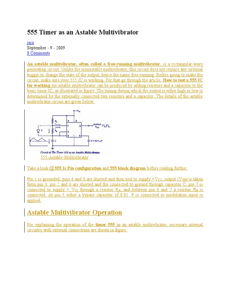 555 Timer As An Astable Multivibrator Electronic Design Electronics Ne555 Basic Monostable Circuit