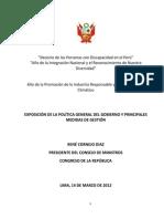 Discurso de Investidura Del Presidente Del Consejo de Ministros Rene Cornejo en El Congreso de La Republica Del Peru 14-03-14
