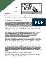 Press Release - Saving UCSB - Senate Resolution