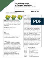 Newsletter 3-14-14