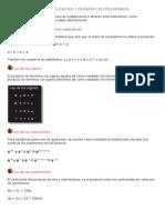 Operaciones de Multiplicacion y Division Con Polinomios