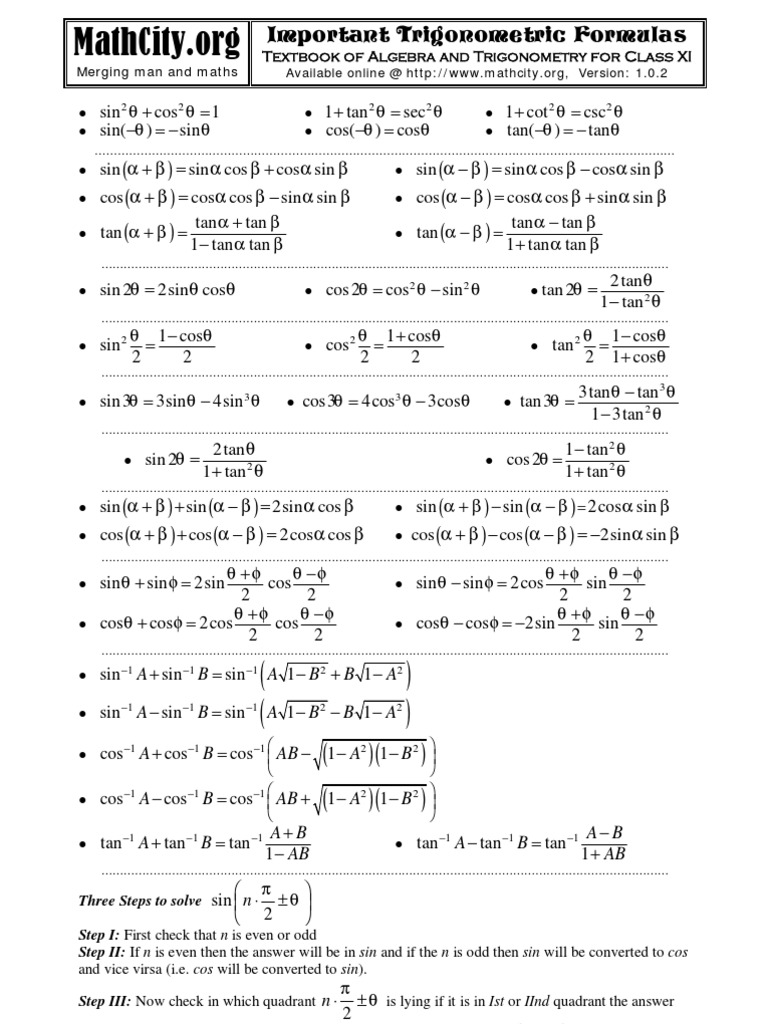 Fsc Trigonometric Formulas | Sine | Trigonometric Functions