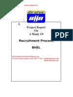 Recruitment Process at BHEL - project Report