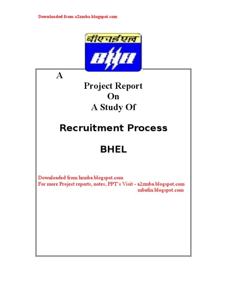 Recruitment Process at BHEL - project Report | Recruitment | Employment