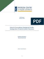 Ontario Francophone Immigrant Profile