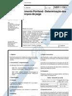 NBR 11581 - Cimento Portland - Determinação dos tempos de pe