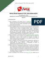 BOLIVIA Reglamento Ley de Telecomunicaciones - Decreto Supremo N°1.391 de 2012