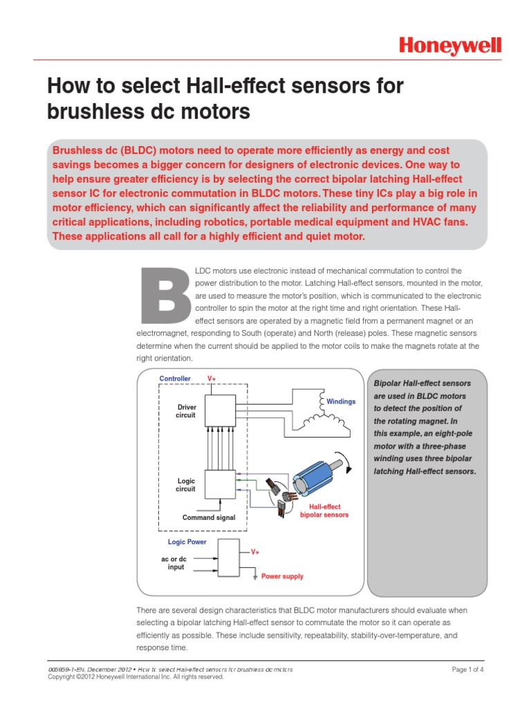 Selecting Hall Effect For Dc Brushless Motors Sensor Electrical Circuits Equipment