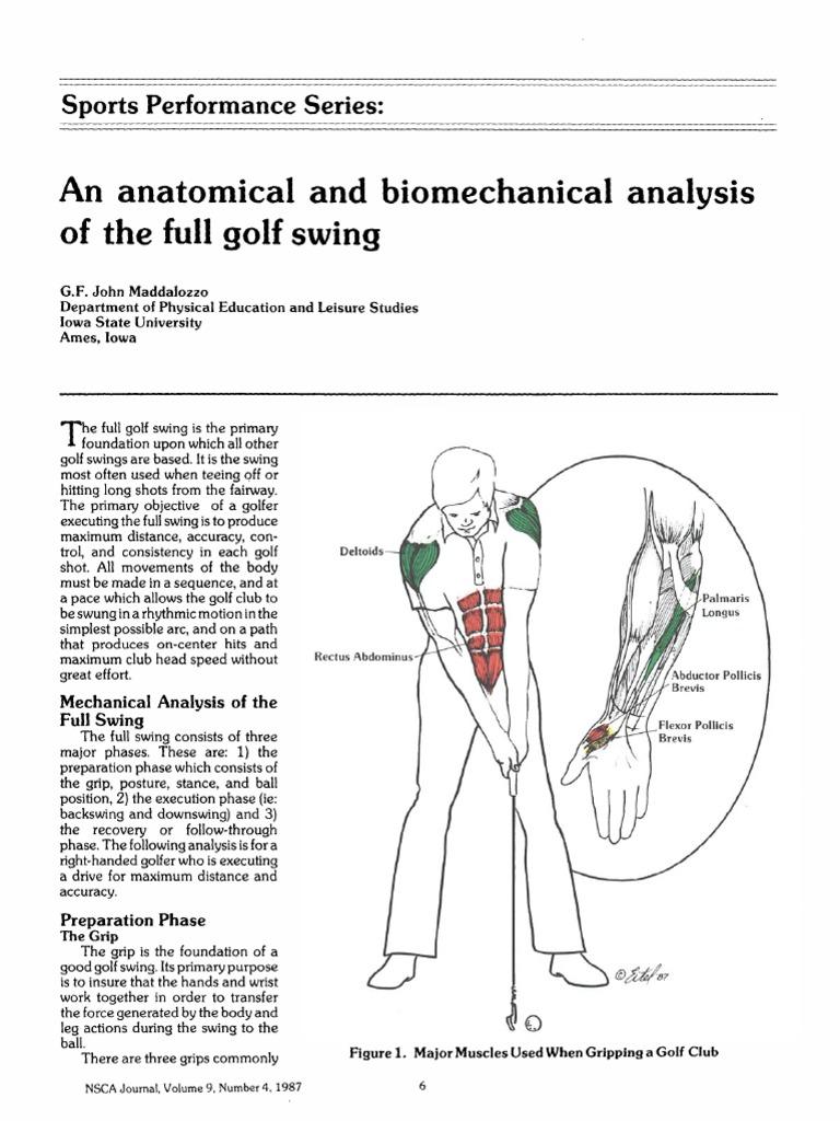 physical education golf biomechanics