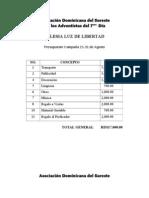 Presupuesto Campaña Evangelista Agosto 2013