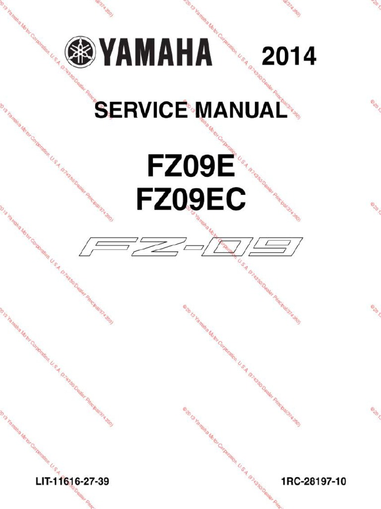 Fz09 Service Manual Ocr Throttle Fuel Injection Yamaha Wr125x Wiring Diagram