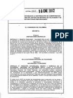 COLOMBIA Ley ANTV - Ley N°1.507 de 2012