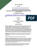 COLOMBIA Tecnologías de la Información y las Comunicaciones - Ley N°1.341 de 2009