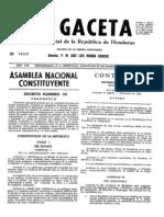 HONDURAS Constitución de 1982 - Decreto 131-82
