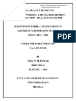 Analysis of Working Capital Requirements in Construction- Real Estate Sector