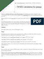 Sample Problem – NPSHA calculation for pumps _