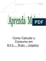 Como Calcular o Consumo Em KVA ,WATTS e AMPERES