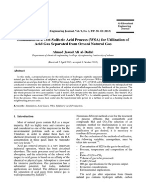 Simulation of a Wet Sulfuric Acid Process (WSA) | Sulfur Dioxide