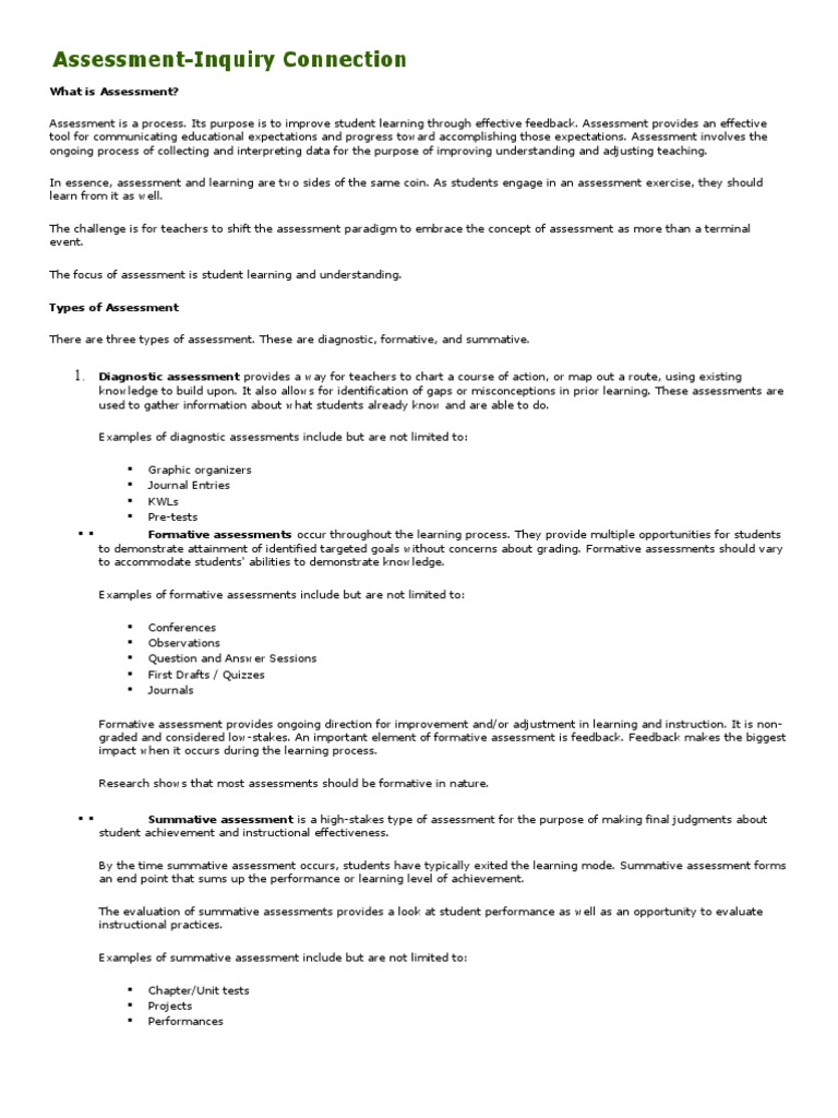 Formative Assessment Examples Educational Assessment Teaching