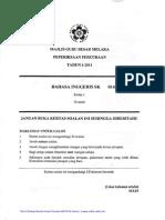 PERCUBAAN UPSR (Melaka) -Bahasa Inggeris UPSR 2011+Skema