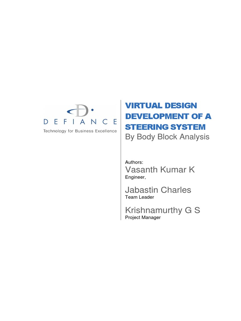 Virtual Design Development Of Steering System By Body Block Analysis Atm Simulator Software Engineering Case Study Prototype