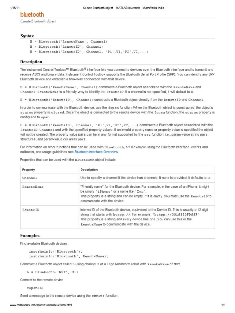 Create Bluetooth Object - MATLAB Bluetooth - MathWorks India