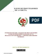 MANUAL DE PROCEDIMIENTO PARA SUBASTAS Y DEPOSITOS DEL ILUSTRE COLEGIO DE PROCURADORES DE A CORUÑA