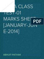 RMBA Class Test-01 Marks Sheet[Jan-June 2014]