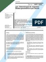 NBR 13800 (Abr 1997) - Água - Determinação de magnésio - Métodos gravimétrico e por cálculo
