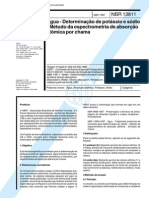 NBR 13811 (Abr 1997) - Água - Determinação de potássio e sódio - Método da espectrometria de absorção atômica por chama
