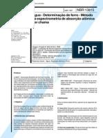 NBR 13815 (Abr 1997) - Água - Determinação de ferro - Método da espectrometria de absorção atômica por chama