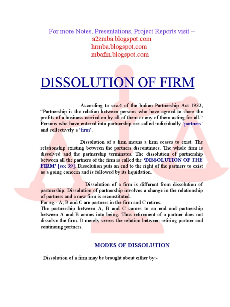 Dissolution Of Firm Project Report Partnership Arbitration