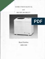 17957225 Welbilt Bread Machine Model ABM3600 Instruction Manual Recipes ABM3600