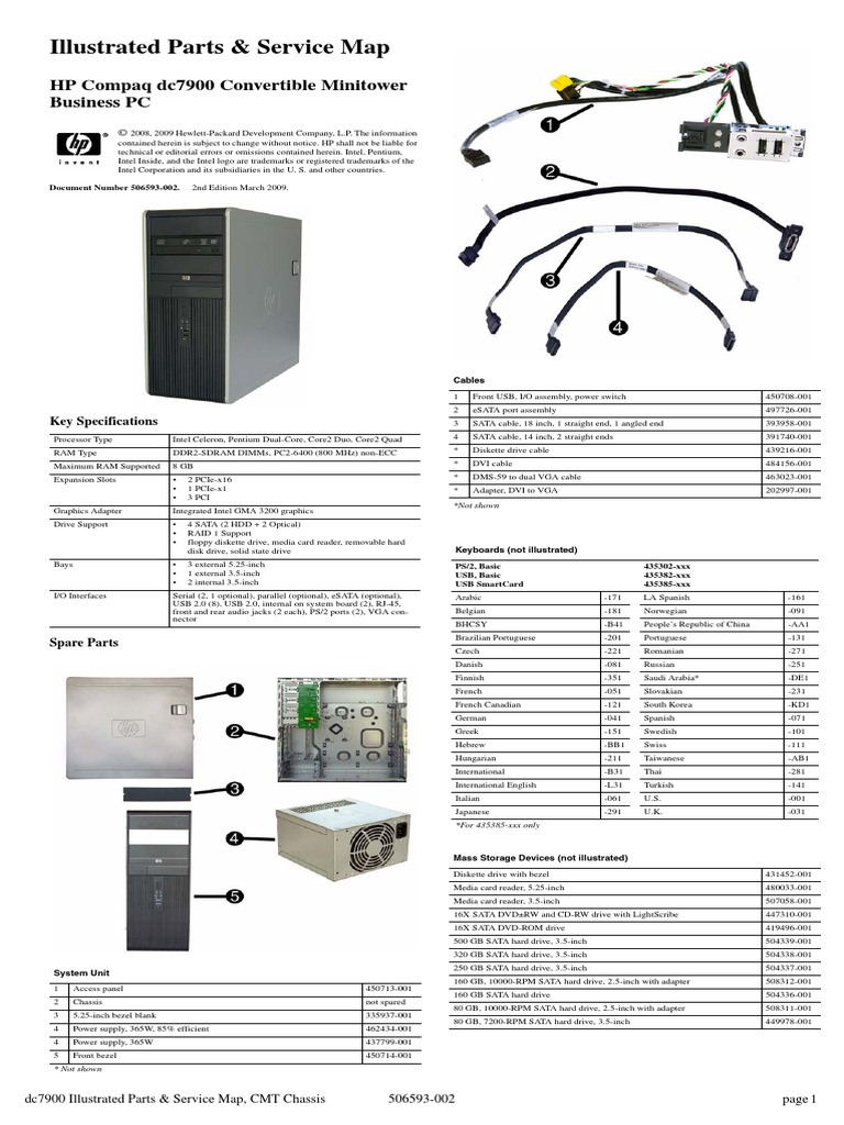 Illustrated Parts & Service Map - HP Compaq Dc7900 Convertible
