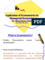Application of Econometrics in Economics