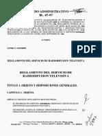 NICARAGUA Reglamento de radiodifusión televisiva - Acuerdo Administrativo N°007 de 1997.pdf