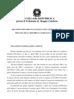 Giuseppe Pignatone, Relazione anno giudiziario 2011 Reggio Calabria