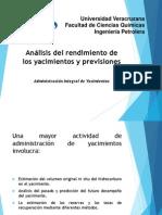 Análisis del rendimiento de los yacimientos y previsiones