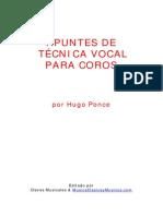 Hugo Ponce. Apunes de técnica vocal para coros