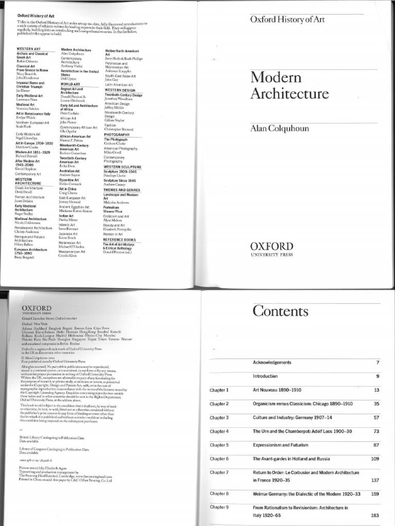 Modern Architecture Alan Colquhoun modern architecturealan colquhoun (ch 1)