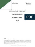 Maths Specialist 3C3D Formulae Sheet 2013
