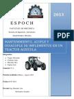 Acople y Desacople y Mantenimiento de Implementos Agricolas