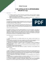 2.- FABRICACIÓN DE CÁPSULAS DE CLORFENIRAMINA MALEATO 4 mg