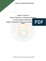 Regulation of Certifying Authorities