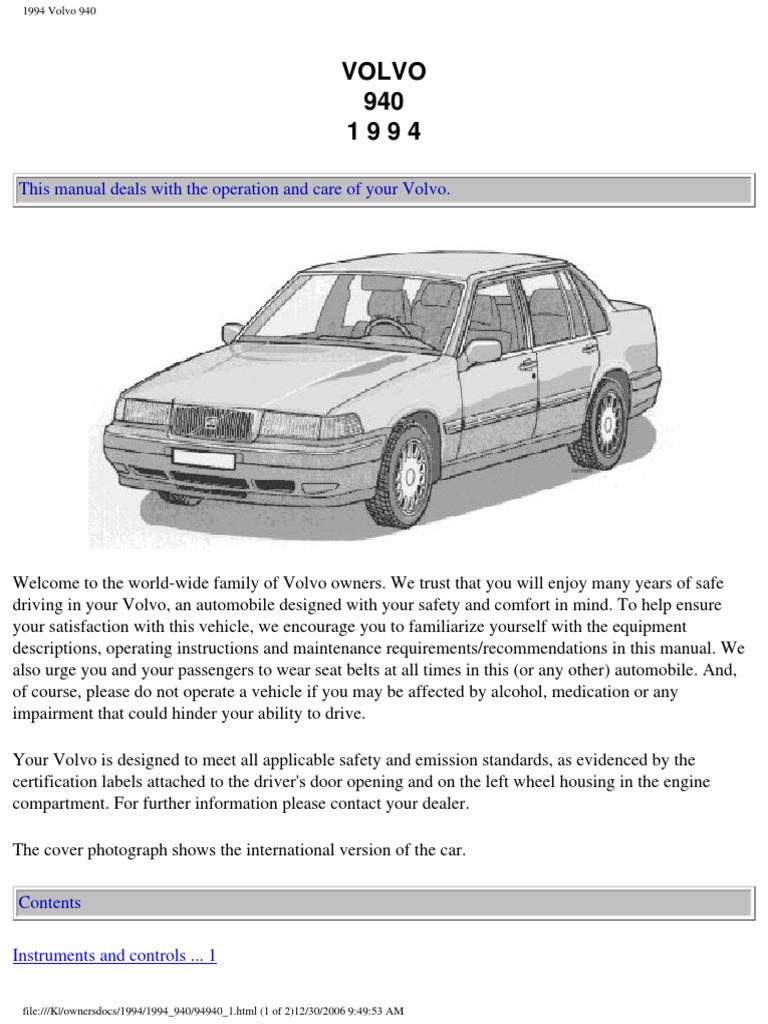volvo 940 1994 owners manual compact cassette headlamp rh es scribd com volvo 940 service manual pdf volvo 940 service manual pdf
