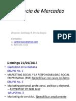 Gerencia de Mercadeo, UCE, Abril 2013